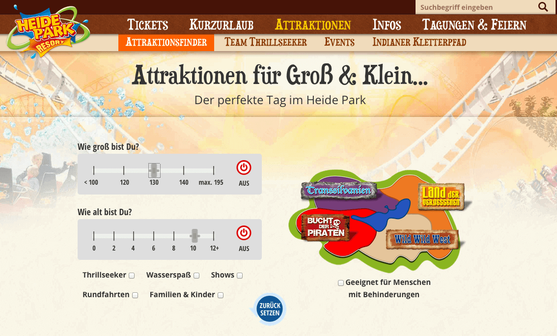 Heidepark Attraktions-Finder
