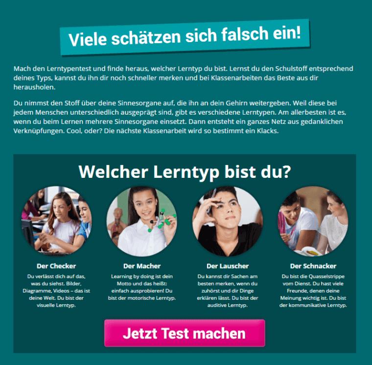 Online-Nachhilfe kapiert.de Lerntyp
