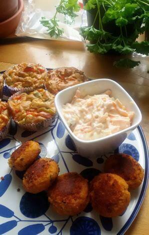 Falafel, Paprikamuffins & Möhren-Joghurt-Creme