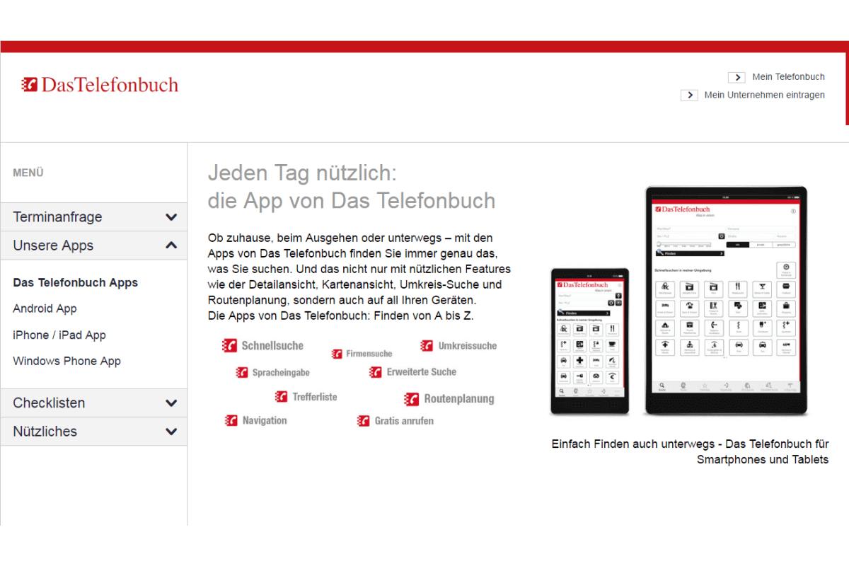 die App von Das Telefonbuch