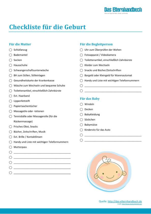 Elternhandbuch - Checkliste für die Geburt
