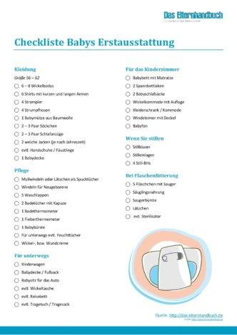 elternhandbuch checkliste babys erstausstattung. Black Bedroom Furniture Sets. Home Design Ideas