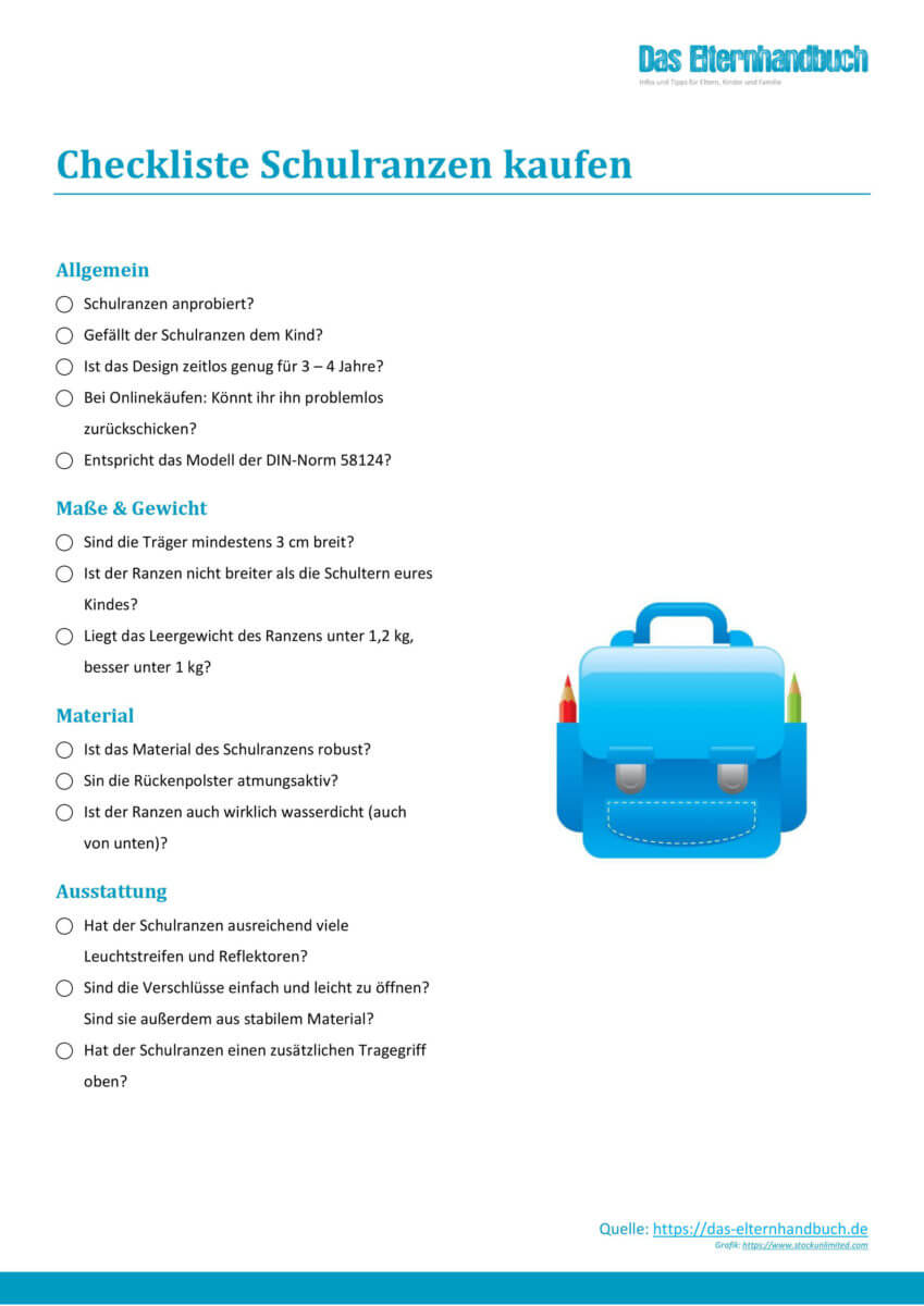 Elternhandbuch - Checkliste Schulranzen-Kauf